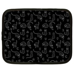 Black cats and witch symbols pattern Netbook Case (Large)