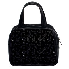 Black cats and witch symbols pattern Classic Handbags (2 Sides)
