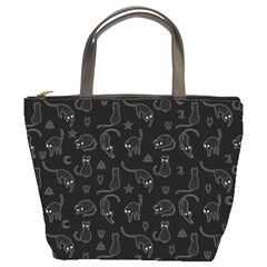 Black cats and witch symbols pattern Bucket Bags