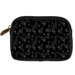 Black cats and witch symbols pattern Digital Camera Cases