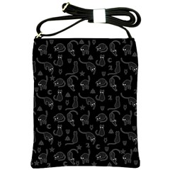 Black cats and witch symbols pattern Shoulder Sling Bags