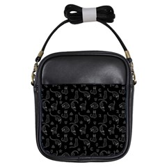 Black cats and witch symbols pattern Girls Sling Bags