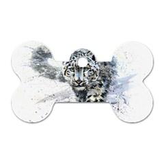 Snow Leopard Dog Tag Bone (two Sides)