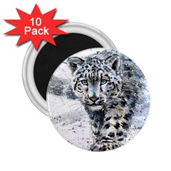 Snow Leopard  2 25  Magnets (10 Pack)