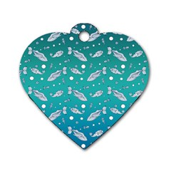 Under The Sea Paisley Dog Tag Heart (one Side)