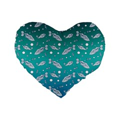 Under The Sea Paisley Standard 16  Premium Flano Heart Shape Cushions