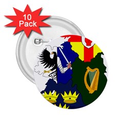 Flag Map Of Provinces Of Ireland 2 25  Buttons (10 Pack)