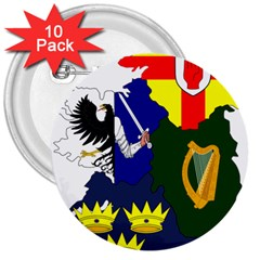 Flag Map of Provinces of Ireland 3  Buttons (10 pack)