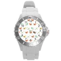 Assorted Birds Pattern Round Plastic Sport Watch (l)
