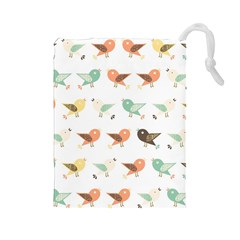 Assorted Birds Pattern Drawstring Pouches (Large)