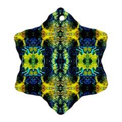 Mystic Yellow Green Ornament Pattern Ornament (Snowflake)