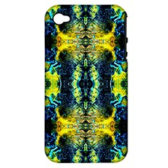 Mystic Yellow Green Ornament Pattern Apple iPhone 4/4S Hardshell Case (PC+Silicone)