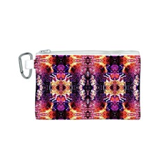 Mystic Red Blue Ornament Pattern Canvas Cosmetic Bag (S)
