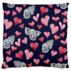 Elephant Lover Hearts Elephants Large Flano Cushion Case (two Sides)