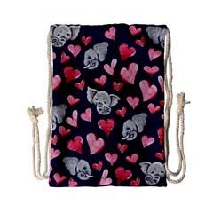Elephant Lover Hearts Elephants Drawstring Bag (small)