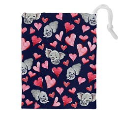 Elephant Lover Hearts Elephants Drawstring Pouch (xxl)