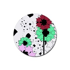 Star flowers             Rubber Round Coaster (4 pack)