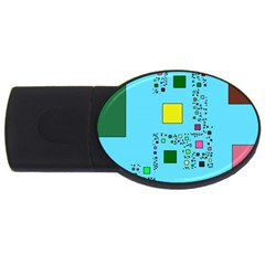 Squares on a blue background            USB Flash Drive Oval (1 GB)