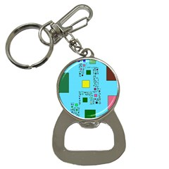 Squares on a blue background            Bottle Opener Key Chain