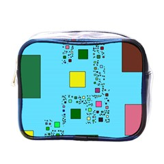 Squares on a blue background            Mini Toiletries Bag (One Side)