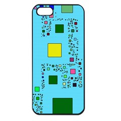 Squares on a blue background      Apple iPhone 5 Seamless Case (Black)