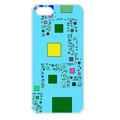 Squares on a blue background      Apple iPhone 5 Seamless Case (White)