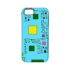 Squares on a blue background      Apple iPhone 4/4S Hardshell Case (PC+Silicone)