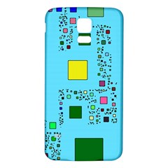 Squares on a blue background      Samsung Galaxy S5 Case (Black)
