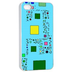 Squares on a blue background      Apple iPhone 4/4s Seamless Case (Black)