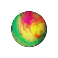 Pastel shapes painting            Rubber Round Coaster (4 pack)