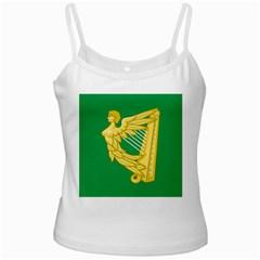 The Green Harp Flag of Ireland (1642-1916) White Spaghetti Tank