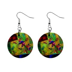 Green paint             1  Button Earrings