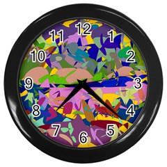 Shapes in retro colors              Wall Clock (Black)