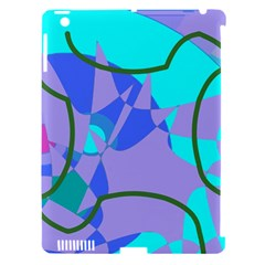Purple blue shapes        Apple iPad 3/4 Hardshell Case (Compatible with Smart Cover)