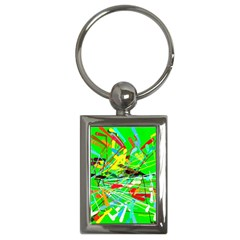Colorful painting on a green background              Key Chain (Rectangle)