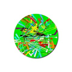 Colorful painting on a green background              Rubber Round Coaster (4 pack)