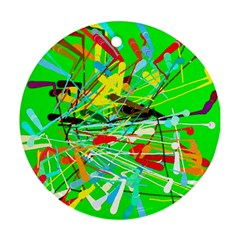 Colorful painting on a green background              Ornament (Round)
