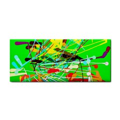 Colorful painting on a green background              Hand Towel