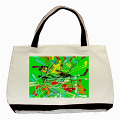 Colorful painting on a green background              Basic Tote Bag