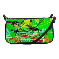 Colorful painting on a green background              Shoulder Clutch Bag