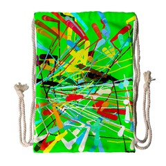 Colorful painting on a green background              Large Drawstring Bag