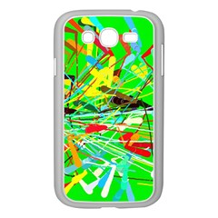 Colorful painting on a green background        Samsung GALAXY S4 I9500/ I9505 Case (White)