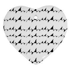 Black And White Wavy Stripes Pattern Ornament (Heart)