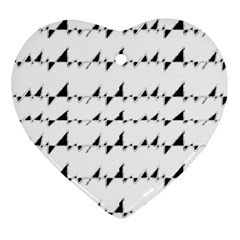 Black And White Wavy Stripes Pattern Heart Ornament (Two Sides)