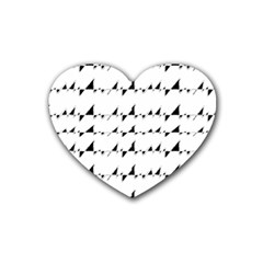 Black And White Wavy Stripes Pattern Rubber Coaster (Heart)