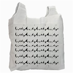 Black And White Wavy Stripes Pattern Recycle Bag (One Side)