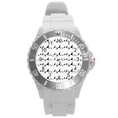 Black And White Wavy Stripes Pattern Round Plastic Sport Watch (l)