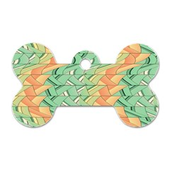 Emerald And Salmon Pattern Dog Tag Bone (one Side)