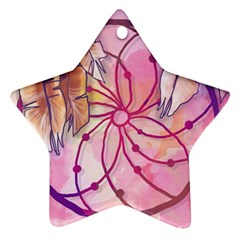 Watercolor cute dreamcatcher with feathers background Star Ornament (Two Sides)