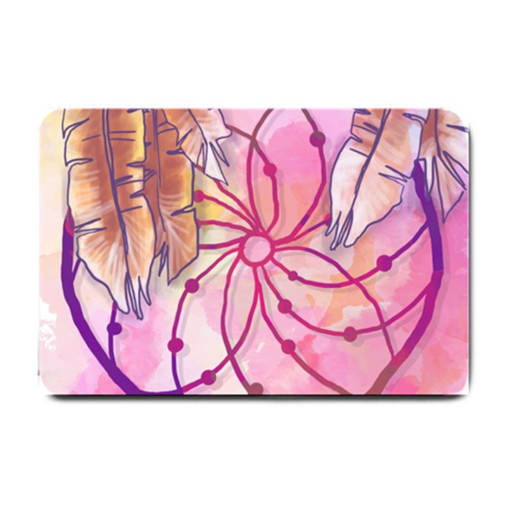 Watercolor cute dreamcatcher with feathers background Small Doormat